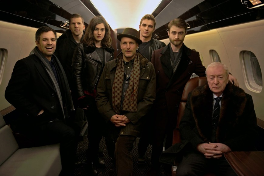 Mark-Ruffalo-Jesse-Eisenberg-Lizzy-Caplan-Woody-Harrelson-Dave-Franco-Daniel-Radcliffe-Michael-Caine-on-set-of-Now-You-See-Me-2