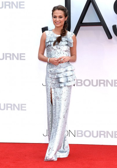 "LONDON, ENGLAND - JULY 11:  Alicia Vikander attends the European premiere of ""Jason Bourne"" at Odeon Leicester Square on July 11, 2016 in London, England.  (Photo by Anthony Harvey/Getty Images)"