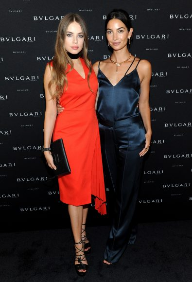 NEW YORK, NY - SEPTEMBER 12: Models Xenia Tchoumi (L) and Lily Aldridge attend the Bulgari 2016/2017 International Campaign Muse announcement on September 12, 2016 in New York City.  (Photo by Craig Barritt/Getty Images for Bulgari)