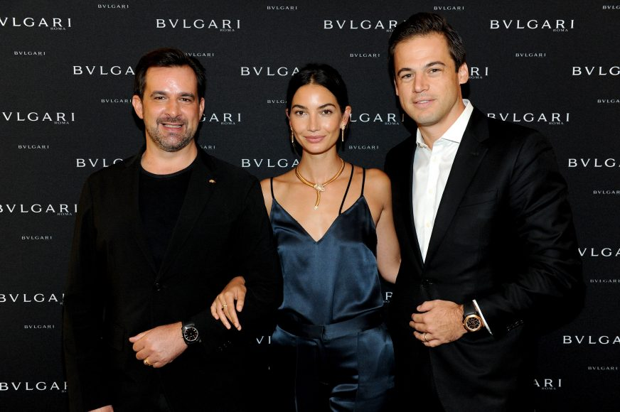 NEW YORK, NY - SEPTEMBER 12: (L-R) International Communication Director at Bulgari Stephane Gerschel, model Lily Aldridge, and President, North America at Bulgari Daniel Paltridge attend the Bulgari 2016/2017 International Campaign Muse announcement on September 12, 2016 in New York City.  (Photo by Craig Barritt/Getty Images for Bulgari)
