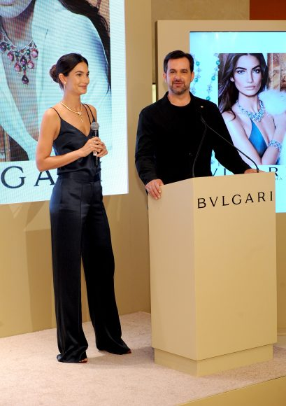 NEW YORK, NY - SEPTEMBER 12: Model Lily Aldridge and International Communication Director at Bulgari Stephane Gerschel speak during the Bulgari 2016/2017 International Campaign Muse announcement on September 12, 2016 in New York City.  (Photo by Craig Barritt/Getty Images for Bulgari)