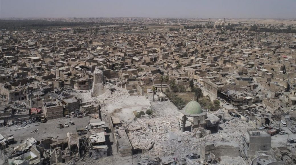 File - This Wednesday  June 28  2017 file photo   shows an aerial view of the destroyed landmark al-Nuri mosque in the Old City of Mosul  Iraq  Abdul Wahab al-Saadi  an Iraqi commander said Thursday  June 29  2017  that his forces have taken the al-Nuri Mosque compound that was destroyed by the Islamic State group last week  Al-Saadi said special forces entered the compound and took control of the surrounding streets on Thursday afternoon  following a dawn push into the area   AP Photo Felipe Dana  File