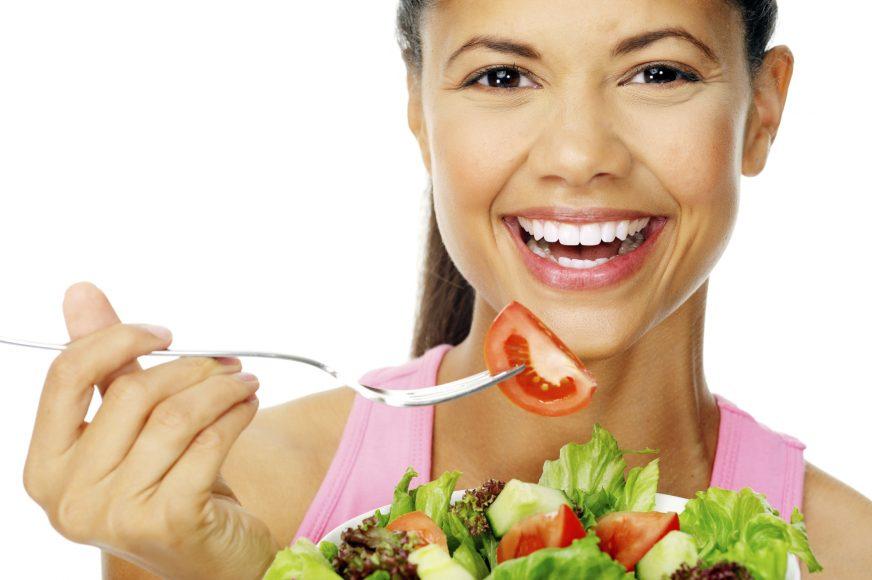 salad woman happy