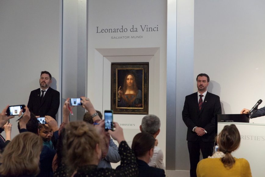 """Salvator Mundi,"" an ethereal portrait of Jesus Christ which dates to about 1500, the last privately owned Leonardo da Vinci painting, is on display for the media at Christie's auction in New York, NY, U.S., October 10, 2017.   Courtesy Christie's New York/Handout via REUTERS"