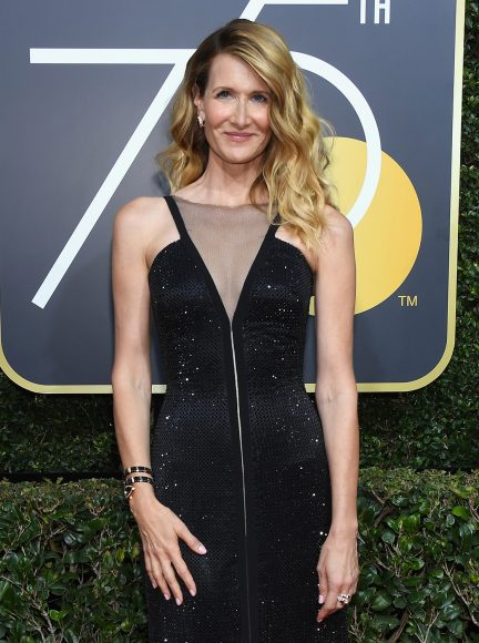 BEVERLY HILLS, CA - JANUARY 07:  75th ANNUAL GOLDEN GLOBE AWARDS -- Pictured: Actor Laura Dern arrives to the 75th Annual Golden Globe Awards held at the Beverly Hilton Hotel on January 7, 2018.  (Photo by Kevork Djansezian/NBC/NBCU Photo Bank via Getty Images)