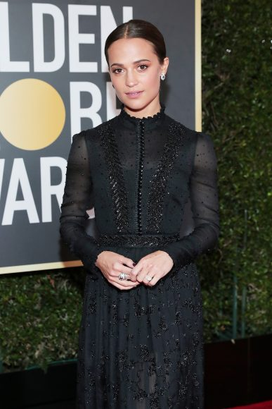 BEVERLY HILLS, CA - JANUARY 07:  75th ANNUAL GOLDEN GLOBE AWARDS -- Pictured: Actor Alicia Vikander arrives to the 75th Annual Golden Globe Awards held at the Beverly Hilton Hotel on January 7, 2018.  (Photo by Neilson Barnard/NBCUniversal/NBCU Photo Bank via Getty Images)