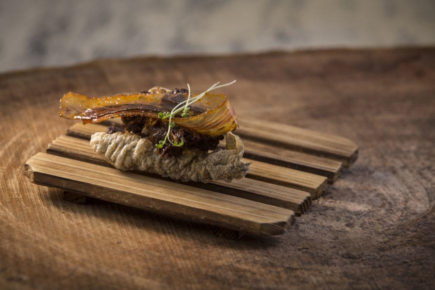 Chicharon de Pacu + Tapenade de Tomate + Jamon de Rio
