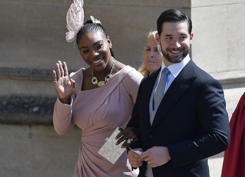 US tennis player Serena Williams and her husband Alexis Ohanian arrive for the wedding ceremony of Britain's Prince Harry, Duke of Sussex and US actress Meghan Markle at St George's Chapel, Windsor Castle, in Windsor, on May 19, 2018. (Photo by TOBY MELVILLE / POOL / AFP)        (Photo credit should read TOBY MELVILLE/AFP/Getty Images)