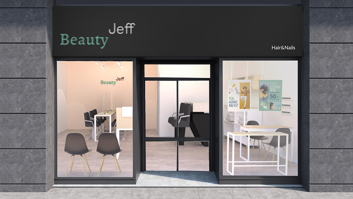 Glass, white and gray stone cafe facade with two vertical posters and a glass door. 3d rendering mock up