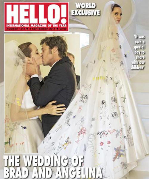 También fue creación de Donatelle el vestido de novia de Jolie para su boda con Brad Pitt